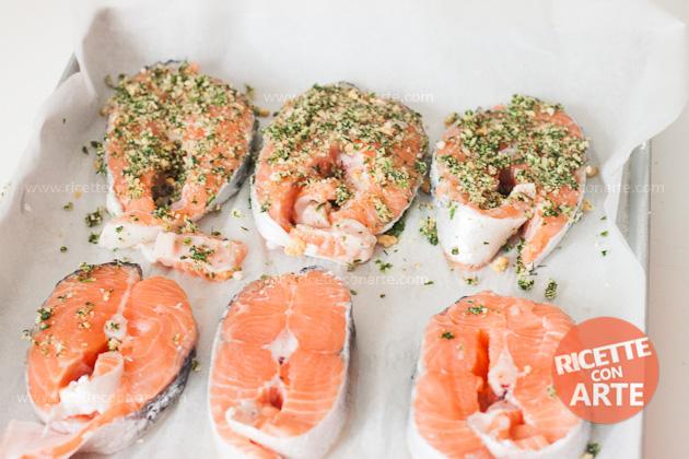 Ricetta-Salmone al forno con erbette
